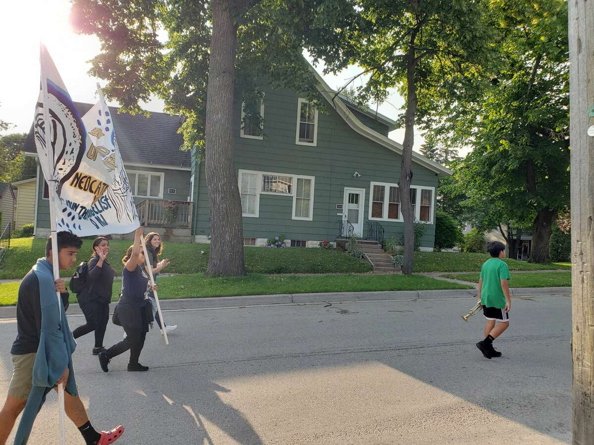 Processions of young pilgrims from St. John the Evangelist, of New Jersey could be seen on Manistee's streets this morning as participants walked up Sycamore Street toward Guardian Angels church and then again downtown from the church.