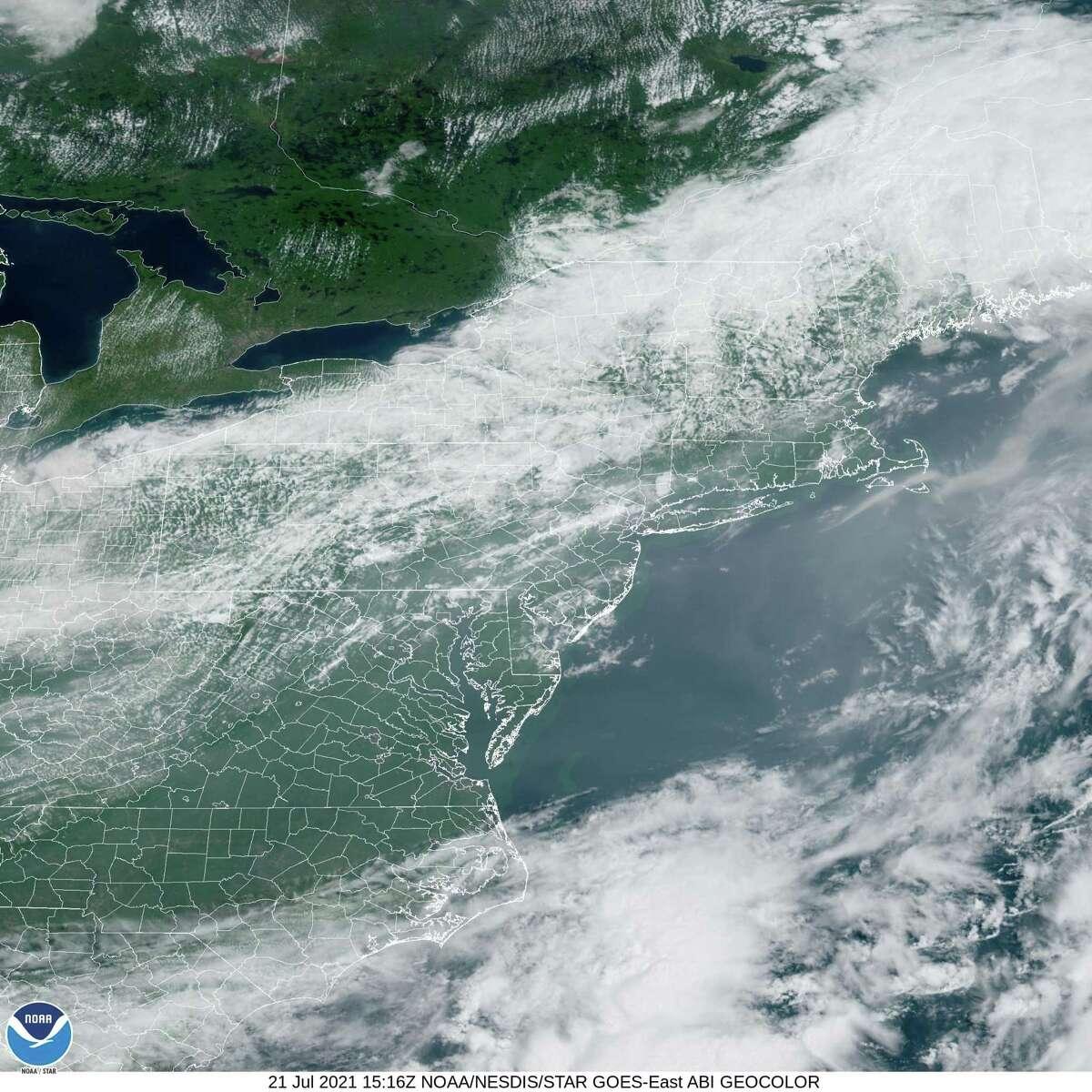 Radar image of the northeast on July 21, 2021