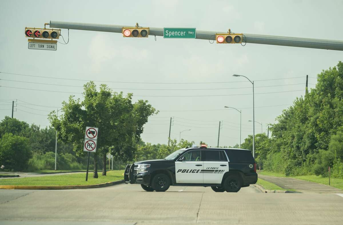 Police block roads in response to a report of a chemical leak at a Dow Chemical plant at 13300 Bay Area Boulevard, Wednesday, July 21, 2021, in La Porte. A shelter-in-place and voluntary evacuation order were both issued in response. A tank wagon over-pressurized, causing a release from the tank's vent, Harris County Pollution Control said in a statement. The incident involved a chemical called Hydroxyethyl Acrylate.