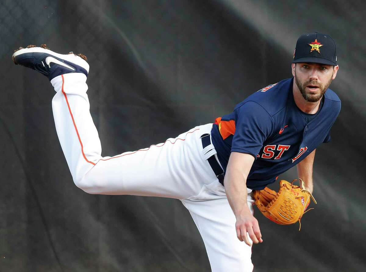 Houston Astros pitcher Austin Pruitt (51), shown here during spring training in 2020, finally debuted with the team last Saturday in Chicago.