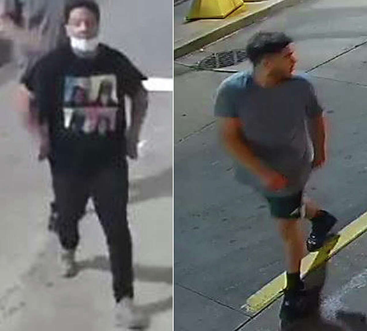 Police are trying to identify two men, seen on surveillance video, who they believe might have information about a weekend assault case.