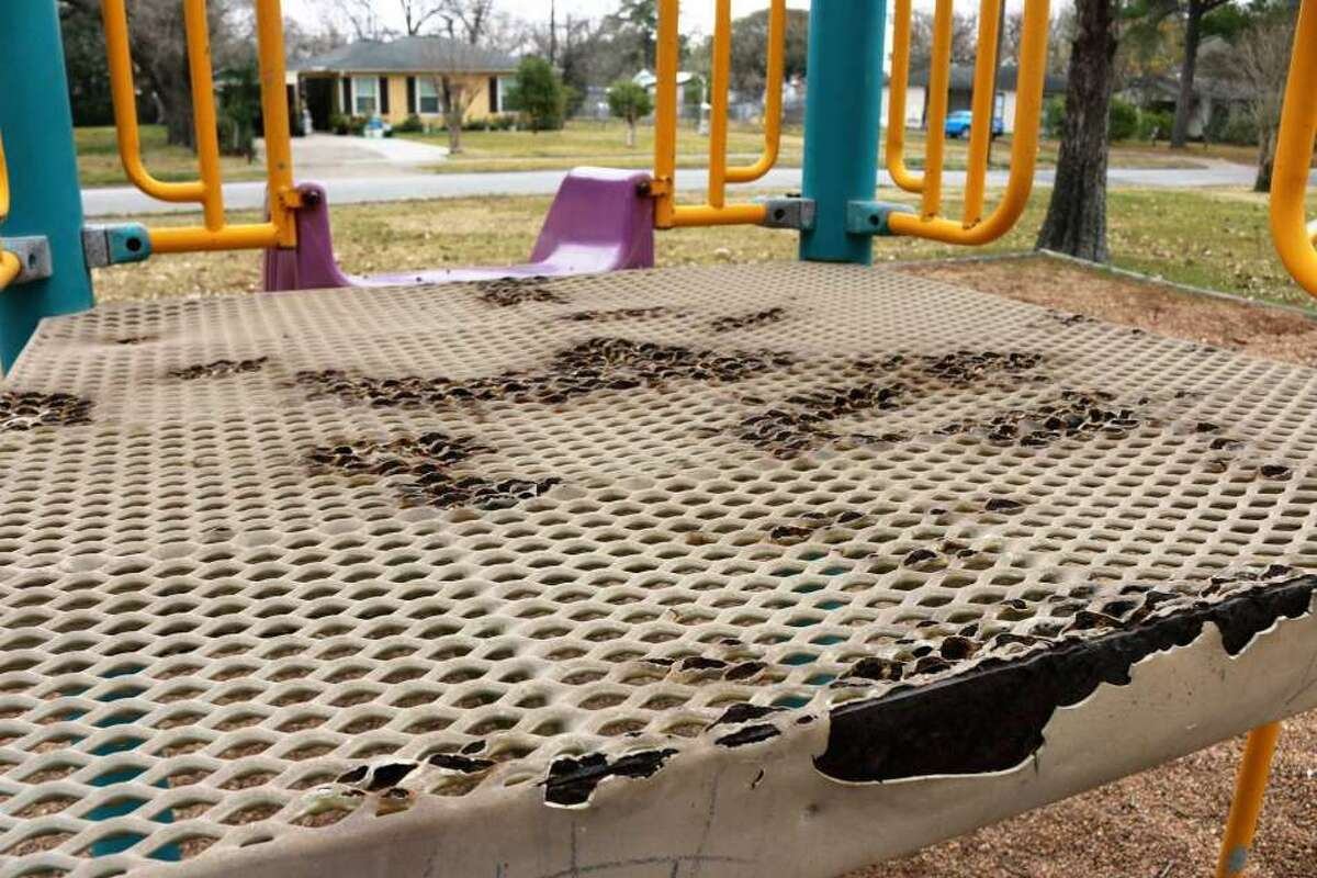 Rust caused jagged corrosion in the play structure that had been used at Gardens Park.