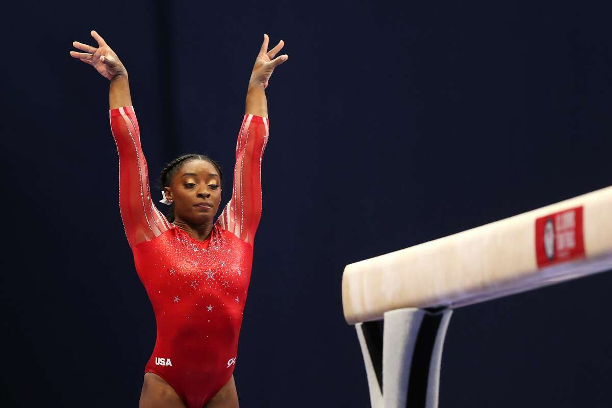 ST LOUIS, MISSOURI - JUNE 27: Simone Biles competes on the balance beam during the Women's competition of the 2021 U.S. Gymnastics Olympic Trials at America's Center on June 27, 2021 in St Louis, Missouri. (Photo by Carmen Mandato/Getty Images)