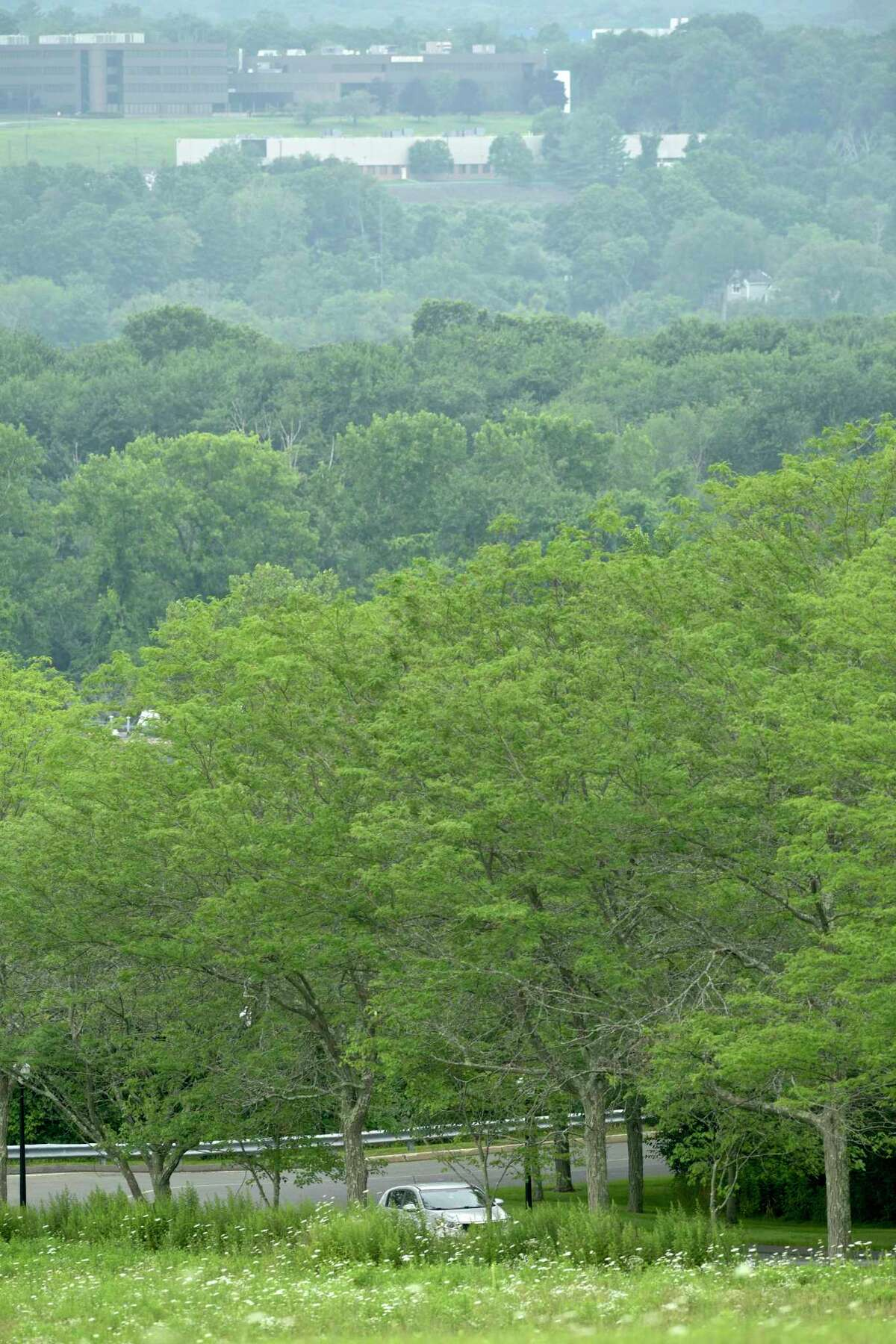 Looking through the haze to the Ethan Allen Corporate Headquarters from Lee Farm Corporate Park Wednesday in Danbury.