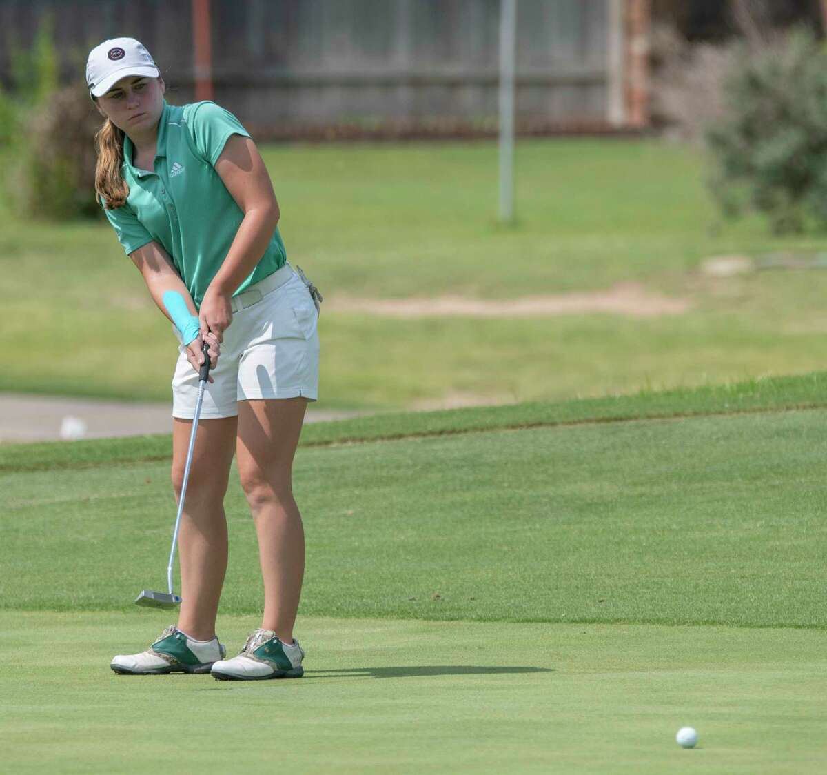Sarah Reed follows her putt 07/21/2021 during the semifinal round of the Midland Women's City Golf Tournament at Green Tree Country Club. Tim Fischer/Reporter-Telegram