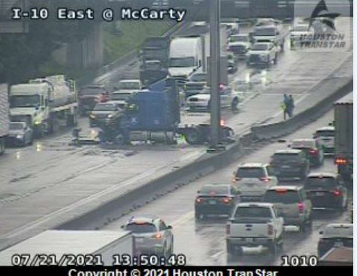A truck crashed on the eastbound lanes of Interstate 10 near McCarty Street as thunderstorms and rain swept through the Houston region on Wednesday, July 21, 2021.