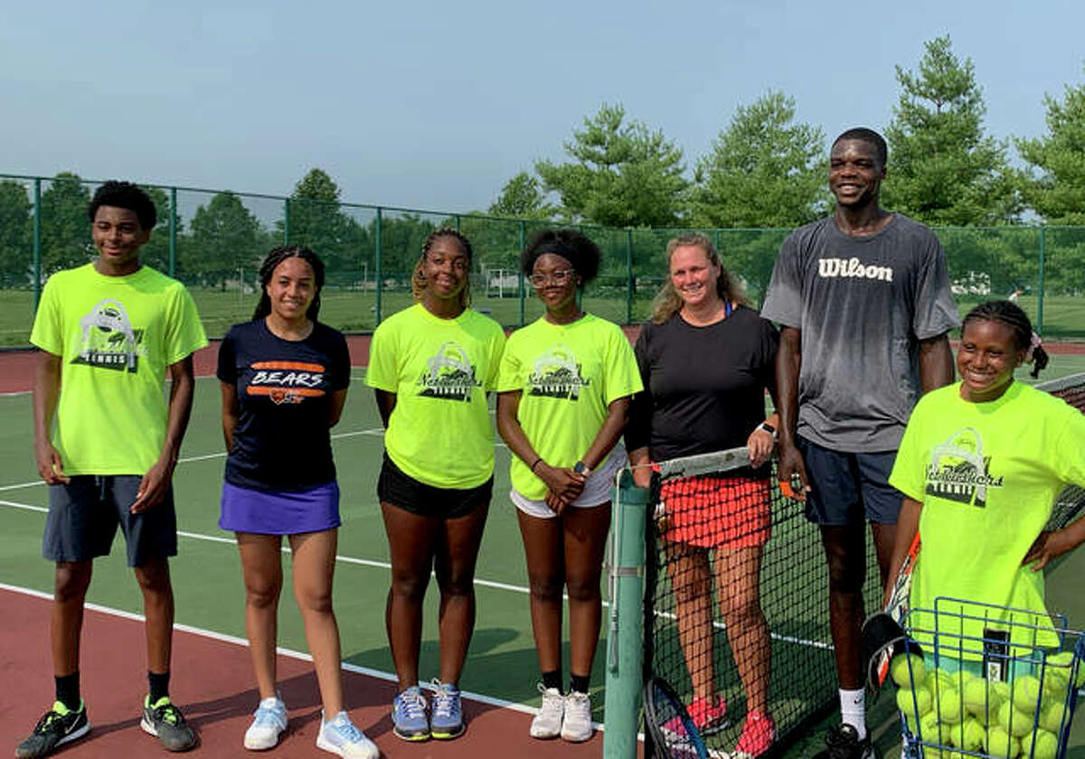 Paul Page, Khristian Bowdry, Jaiden Coleman, Karter Bowdry, James Williams and Ben Gildehaus of Breakpoint Tennis and Life Skills Academy.