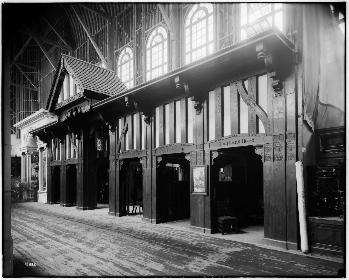 Located inside the Palace of Varied Industries at the 1904 St. Louis World's Fair, the Quaker Shops exhibit was later dismantled and brought to Alton where it still stands at the corner of East Broadway and George Street.
