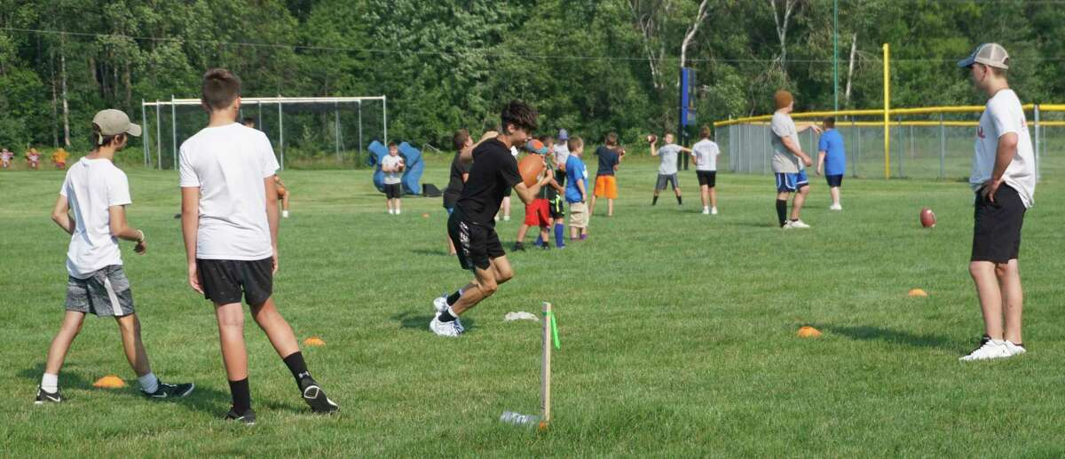 The Morley Stanwood youth football camp saw upwards of 50 attendees on Tuesday. (Pioneer photo/Joe Judd)