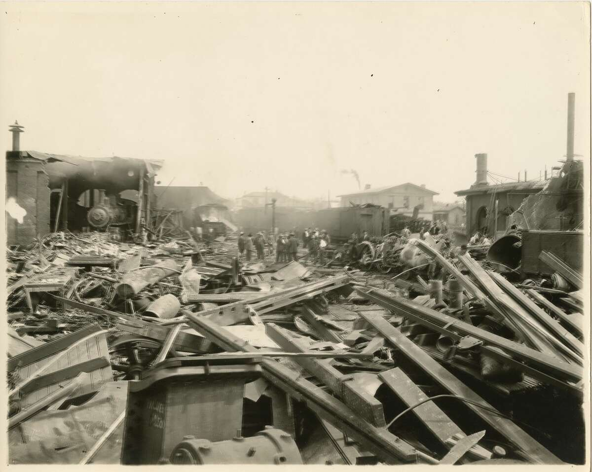 Aftermath of the March 18, 1912 train explosion in San Antonio.
