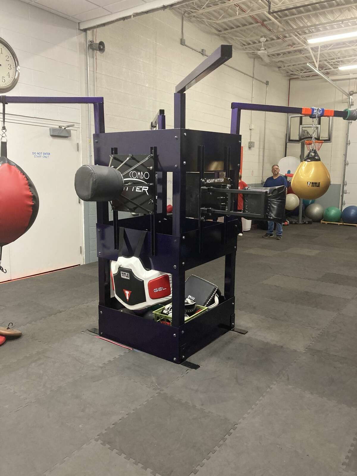 A new piece of boxing equipment, dedicated in Johnson's memory, sits in Rock Steady Boxing Mid Michigan. (Photo by Aurora Abraham/Midland Daily News)