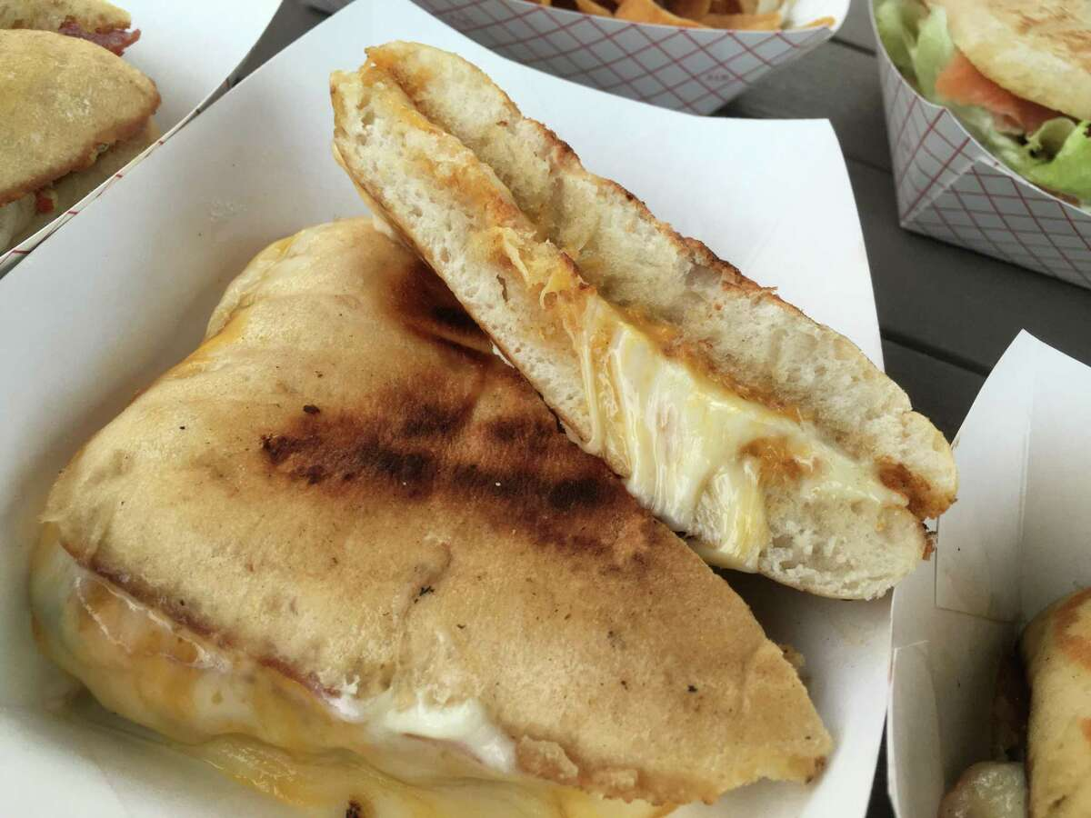 The three-cheese melt at Panini Queenz