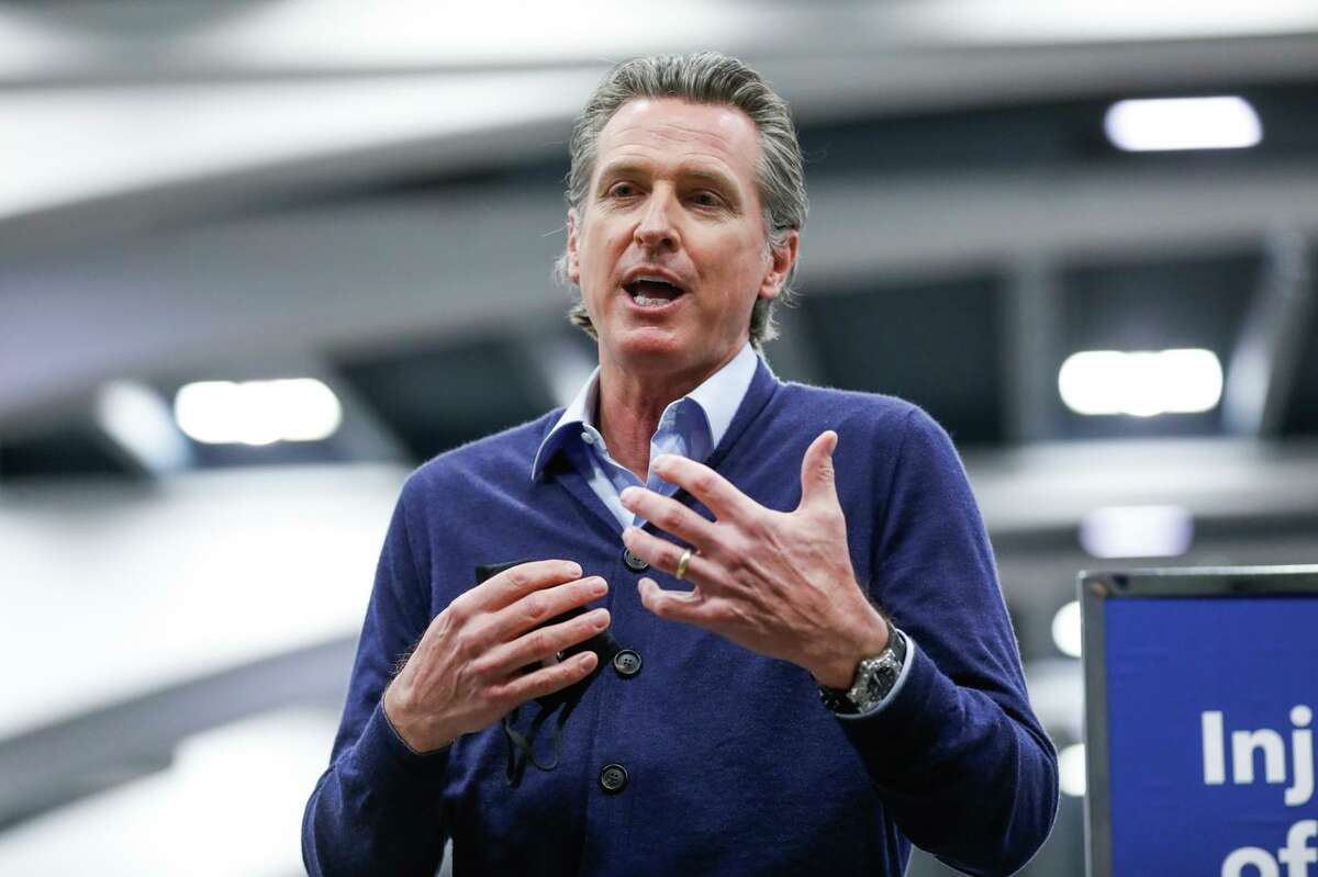 Governor Gavin Newsom speaks to the press1 in San Francisco, California. Newsom recently signed a bill extending a program that allows the California Highway Patrol to form regional task forces intended to combat retail theft.