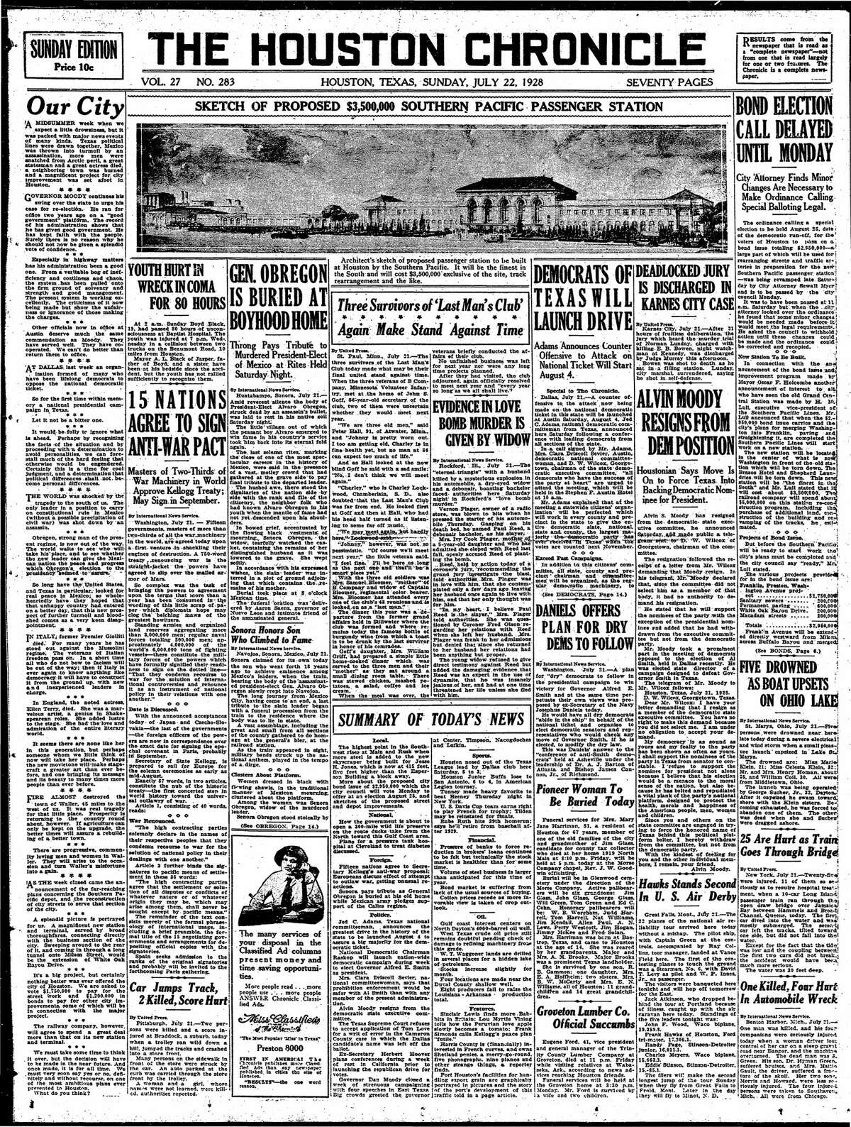Houston Chronicle front page from July 22, 1928.