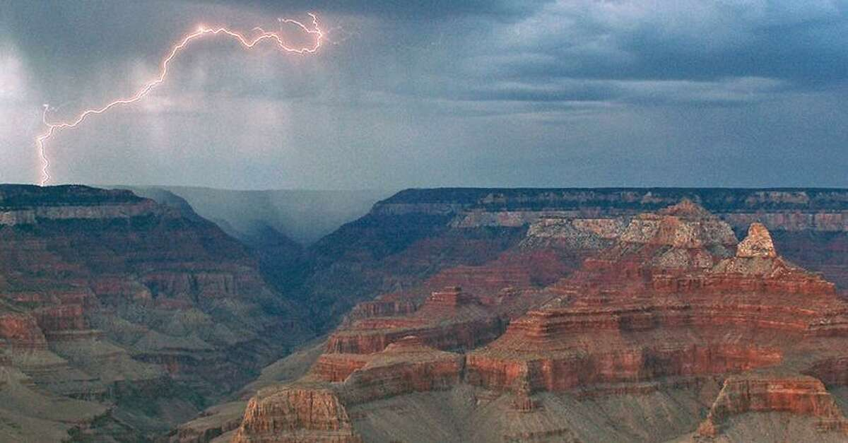 Lightning is common in the Grand Canyon that sees an average of 25,000 strikes a year.