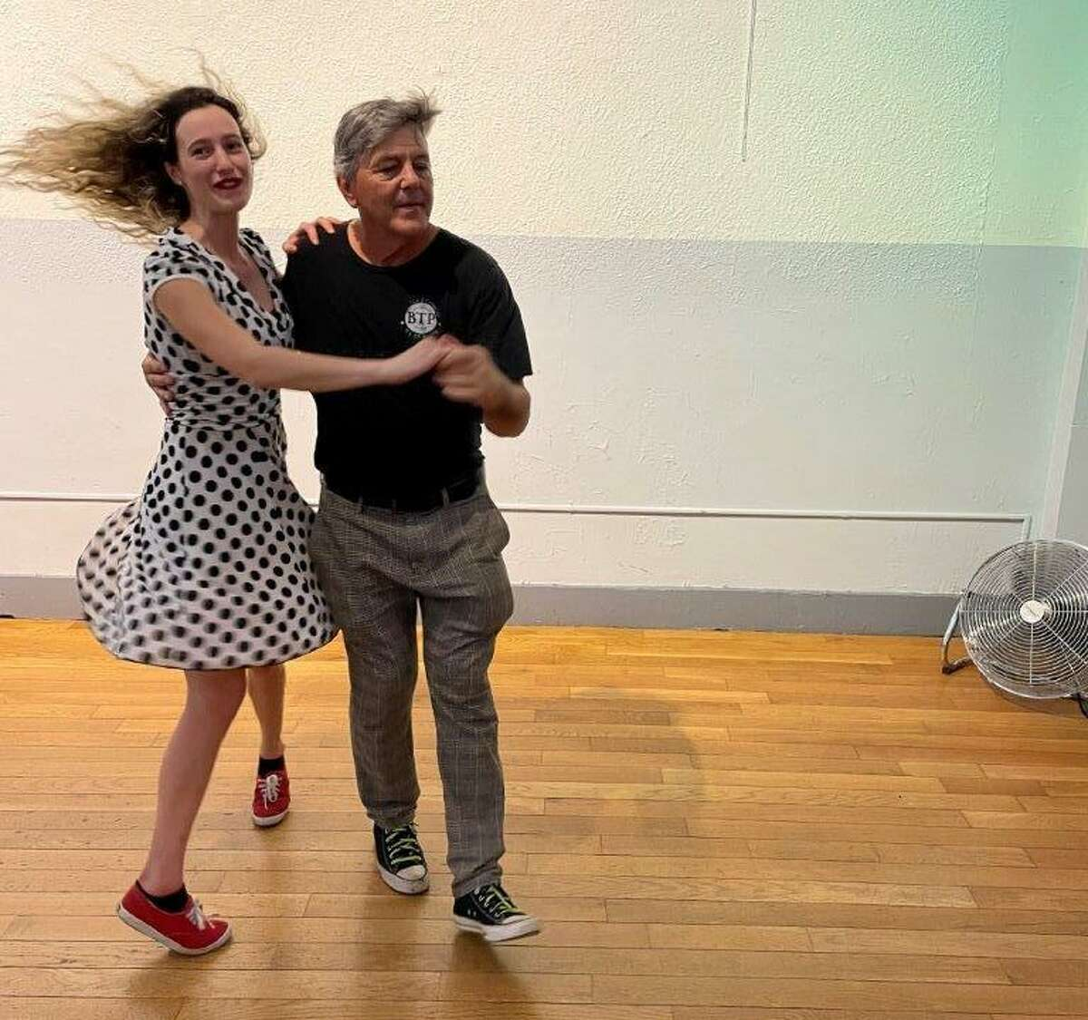 Bruce Johnson and Molly Barnett, who taught the Lindy hop class at Vinnie's Jump and Jive in Middletown, CT on July 19, 2020.