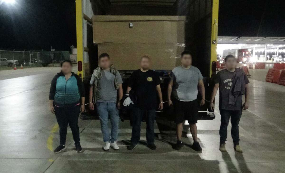 Five migrants and 87 grams of marijuana were found inside a rental box truck at the Interstate 35 checkpoint on Tuesday.