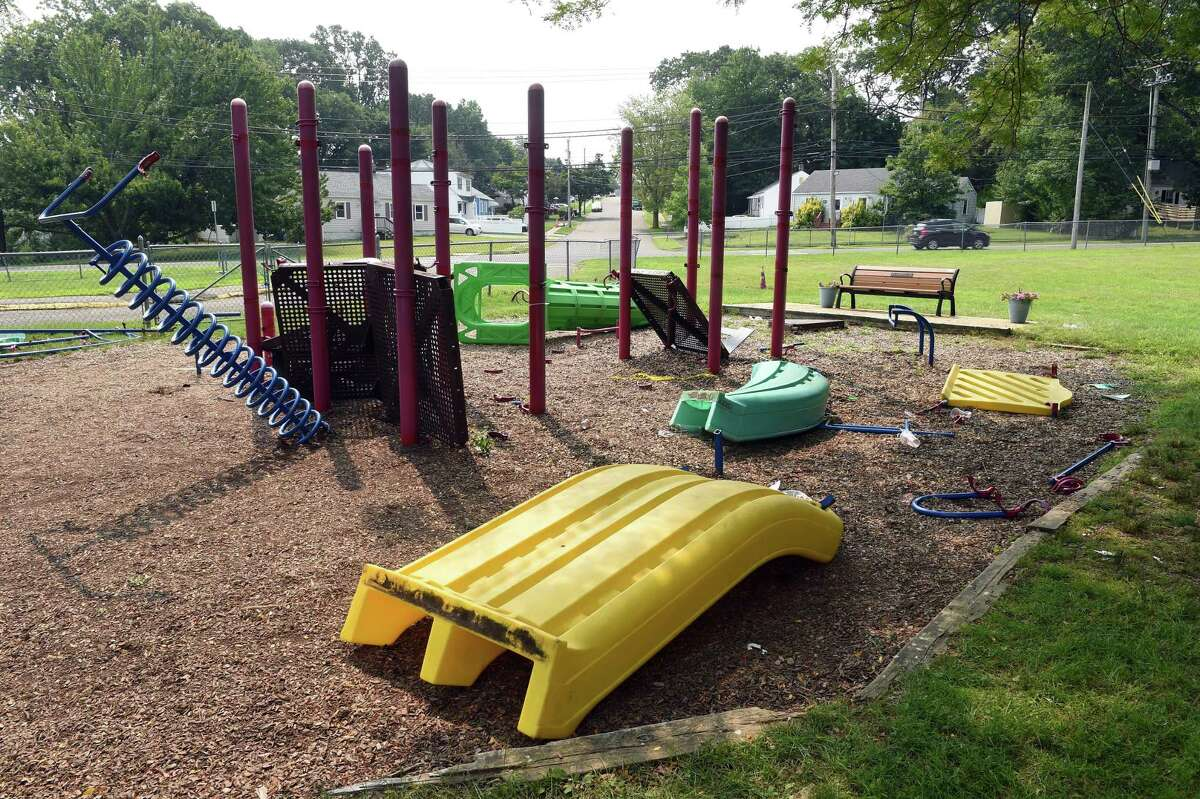 A disassemble playground at the Edith E. Mackrille Elementary School in West Haven on July 21, 2021.