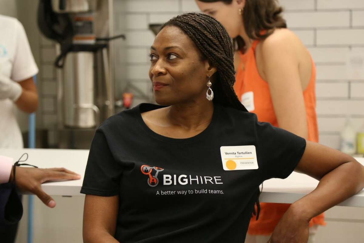 Vernita Tertullien of BigHire talks about her business at the Female Founder Pitch Night.