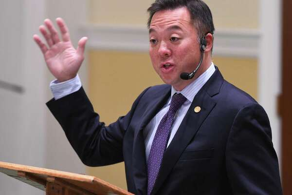 Connecticut Attorney General William Tong, seen here in 2019, spoke again to the Retired Men's Association in Greenwich on Wednesday, discussing his ongoing efforts in the opioid crisis against as well as the law in the state under the COVID-19 pandemic.