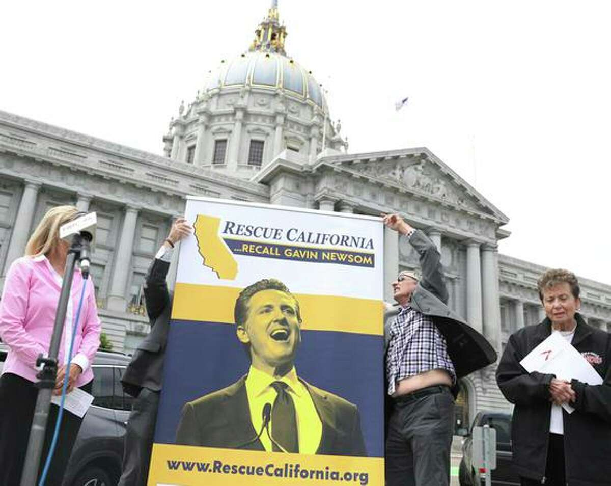 Supporters of the gubernatorial recall gather in front of City Hall in San Francisco on Tuesday.