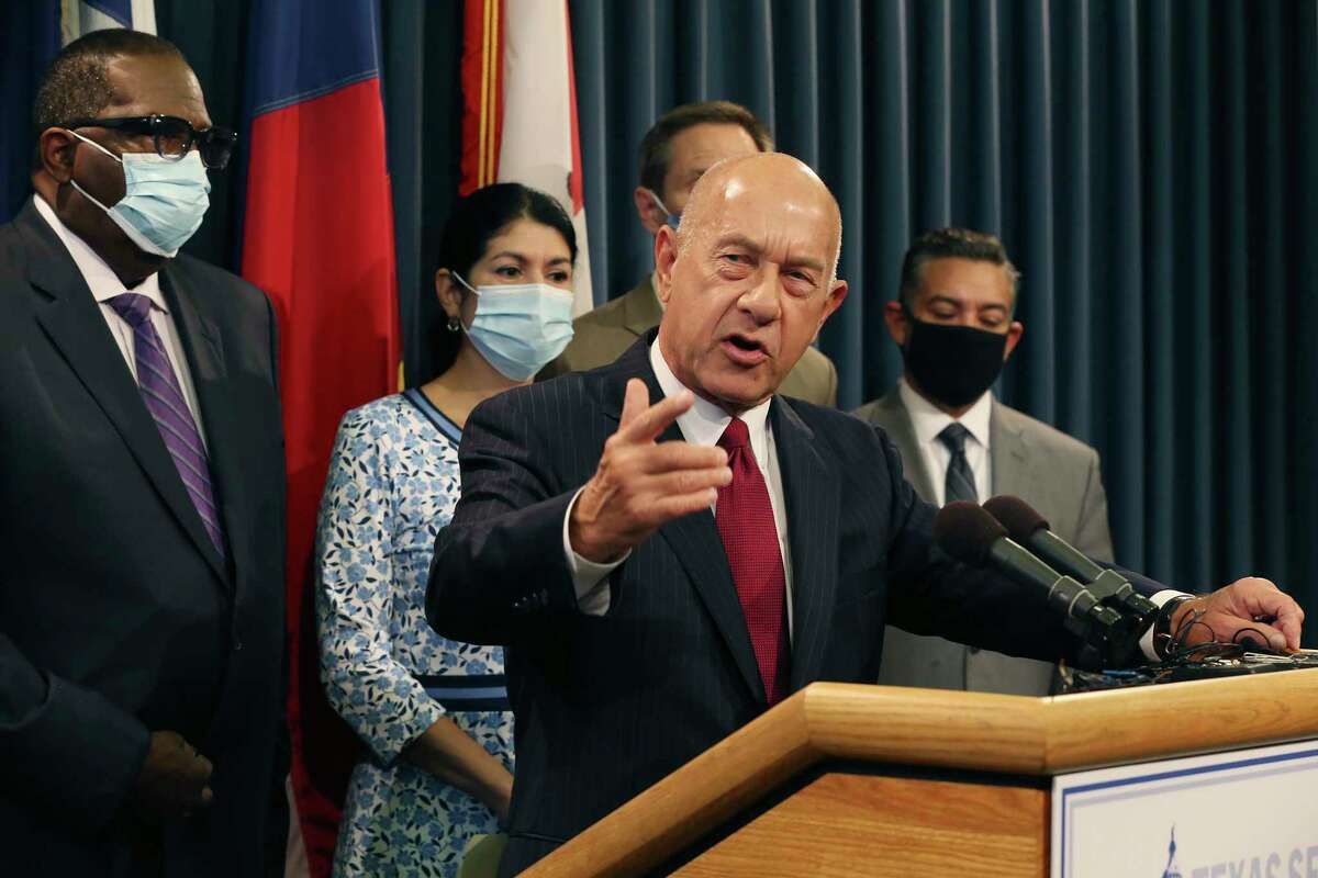 Texas State Sen. John Whitmire, (D-Houston), addresses the media during a press conference by the Senate Democratic caucus at the State Capitol, Wednesday, July 21, 2021.