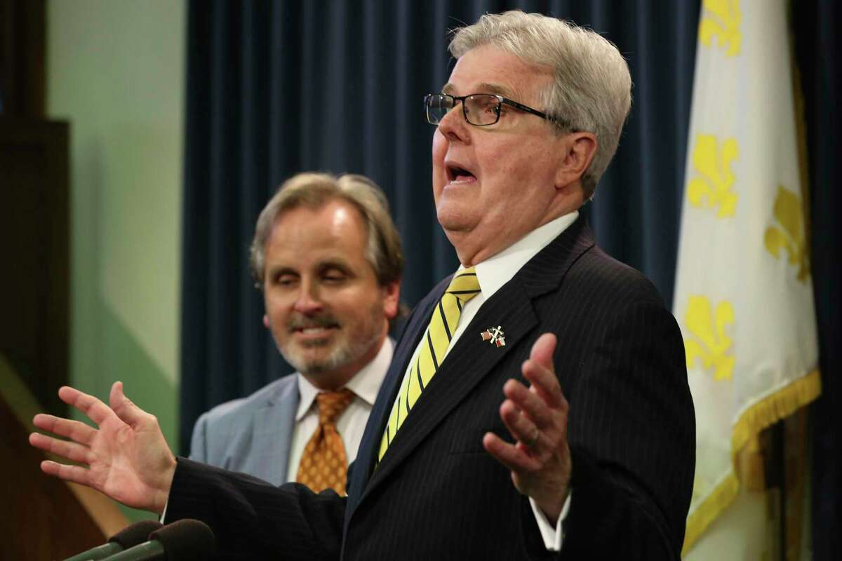Texas Lt. Gov. Dan Patrick makes a point during a press conference after members of the Texas State Senate Democratic Caucus held their press conference at the State Capitol, Wednesday, July 21, 2021. Joining him was State Sen. Bryan Hughes, (R-Mineola).