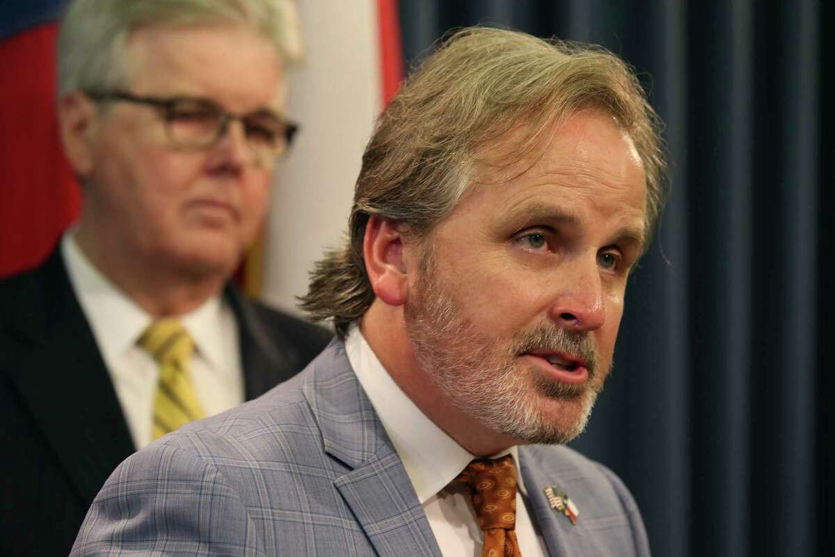 Texas State Sen. Bryan Hughes, (R-Mineola), addresses the media during a press conference at the State Capitol, Wednesday, July 21, 2021. Joining him was Lt. Gov. Dan Patrick.