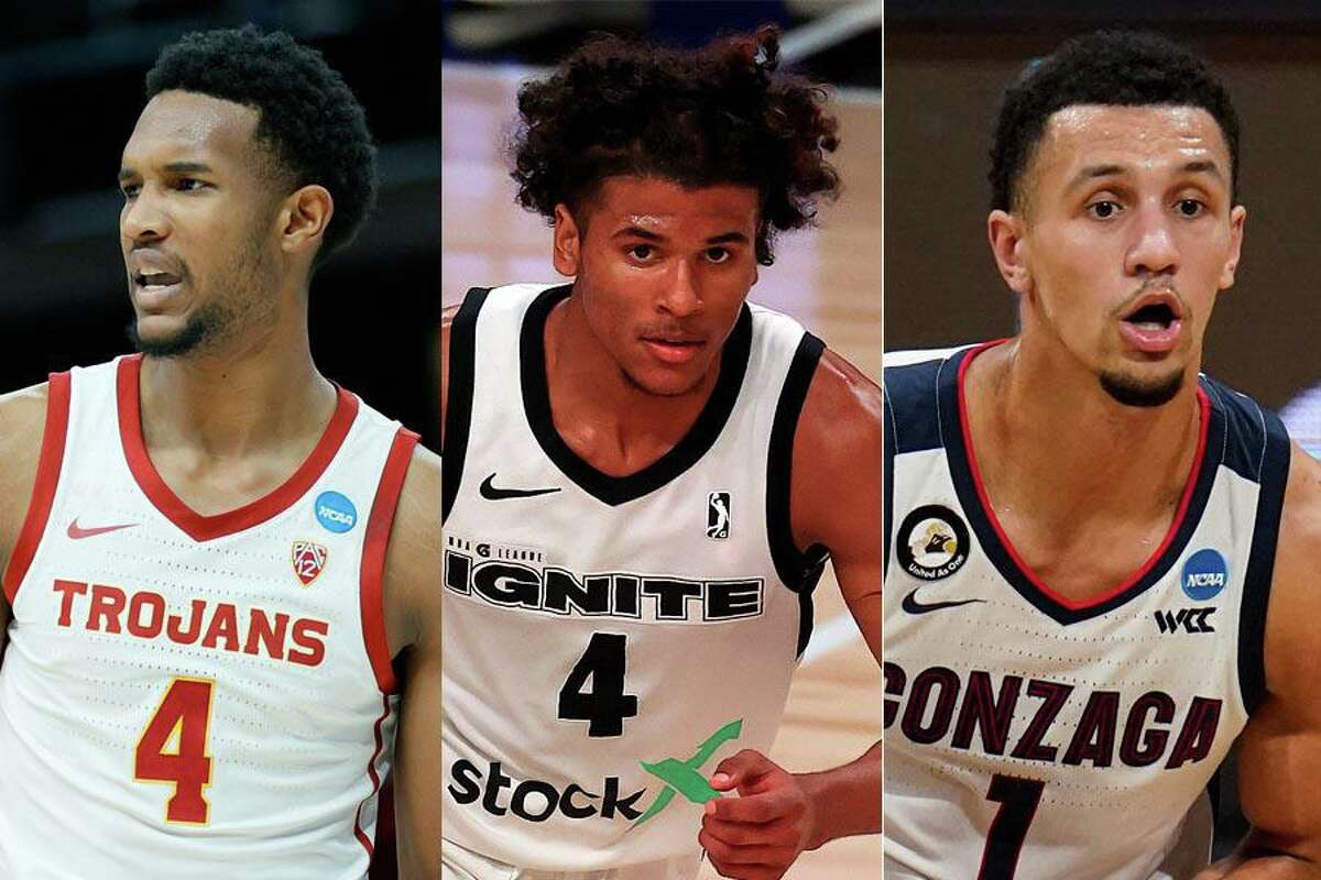 Evan Mobley (from left), Jalen Green and Jalen Suggs figure to be the top candidates the Rockets will have to choose from with the second pick in this year's NBA draft.