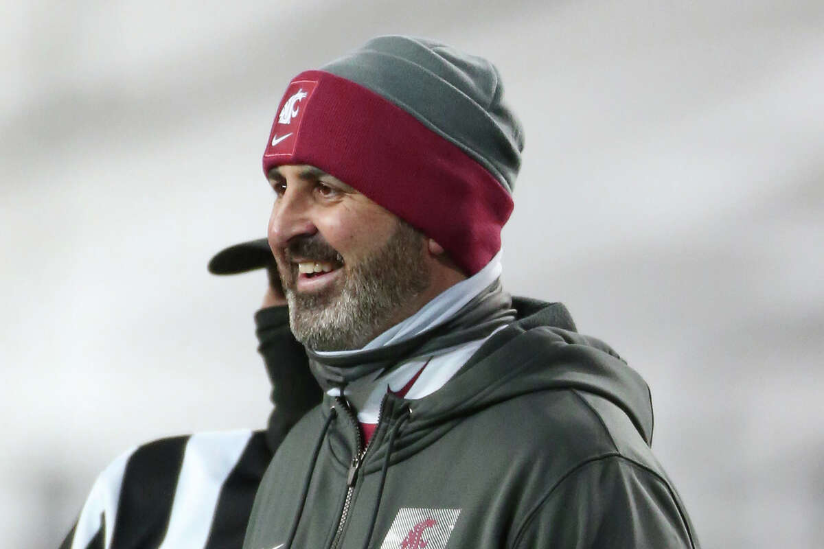 Head coach Nick Rolovich of the Washington State Cougars looks on in the first half against the Oregon Ducks at Martin Stadium on November 14, 2020 in Pullman, Wash.