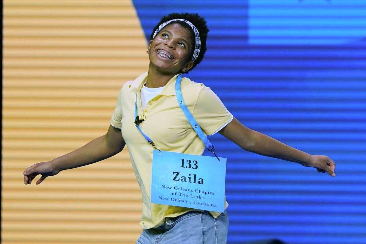Zaila Avant-garde, 14, from Harvey, La., celebrates after winning the finals of the 2021 Scripps National Spelling Bee at Disney World Thursday, July 8, 2021, in Lake Buena Vista, Fla. (AP Photo/John Raoux)