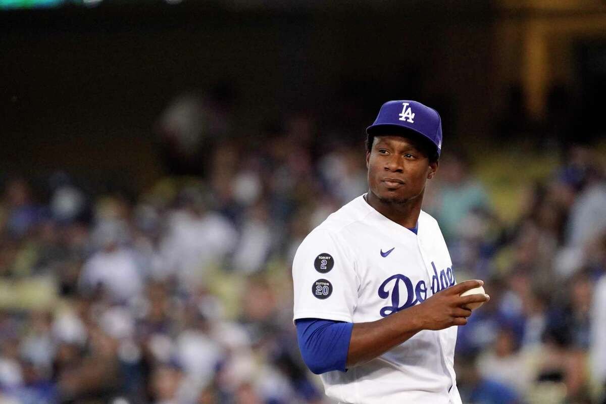 Los Angeles Dodgers relief pitcher Josiah Gray pauses on the mound during the third inning of a baseball game against the San Francisco Giants Tuesday, July 20, 2021, in Los Angeles. (AP Photo/Mark J. Terrill)