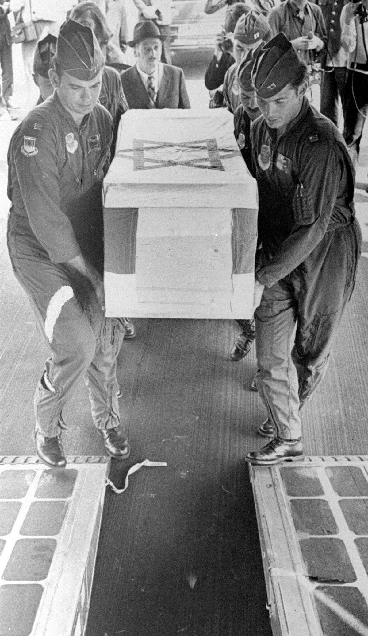 American Air Force officers carry the coffin of Israeli Olympic weightlifter David Berger, one of the hostages murdered by terrorists at the 1972 Olympics in Munich, at a West German Air Force base, west of Munich, Germany, in this Sept. 7, 1972, file photo.