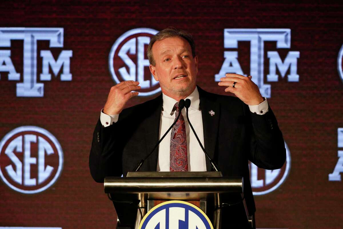 Texas A&M head coach Jimbo Fisher speaks to reporters during the NCAA college football Southeastern Conference Media Days Wednesday, July 21, 2021, in Hoover, Ala.