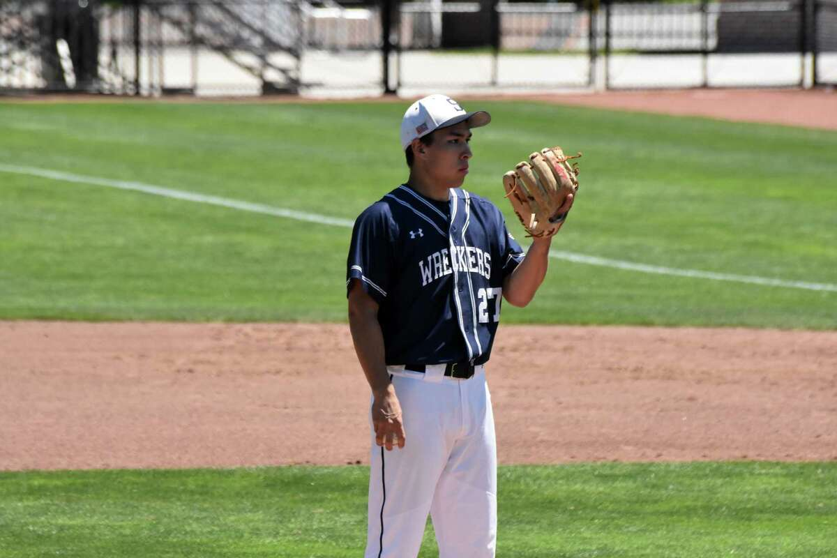 Staples pitcher Chad Knight in the Class LL state championship game at Palmer Field in Middletown in 2019.