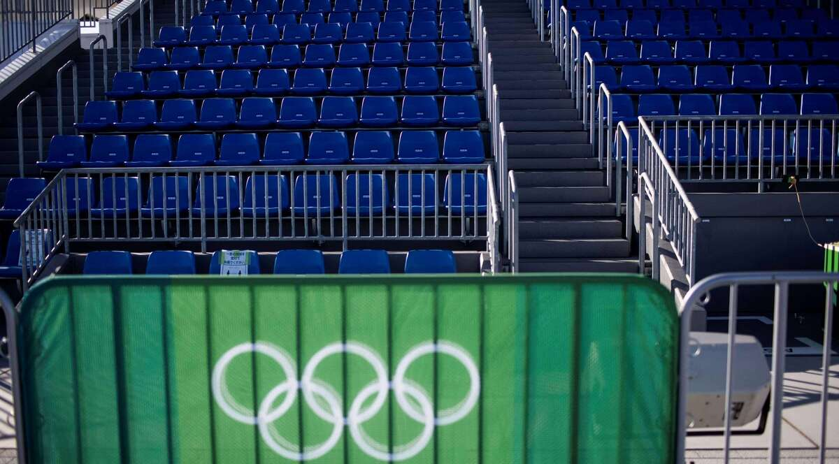 Empty seats, which will stay that way, at a rowing venue ahead of the Olympics. (Behrouz Mehri/AFP via Getty Images/TNS)