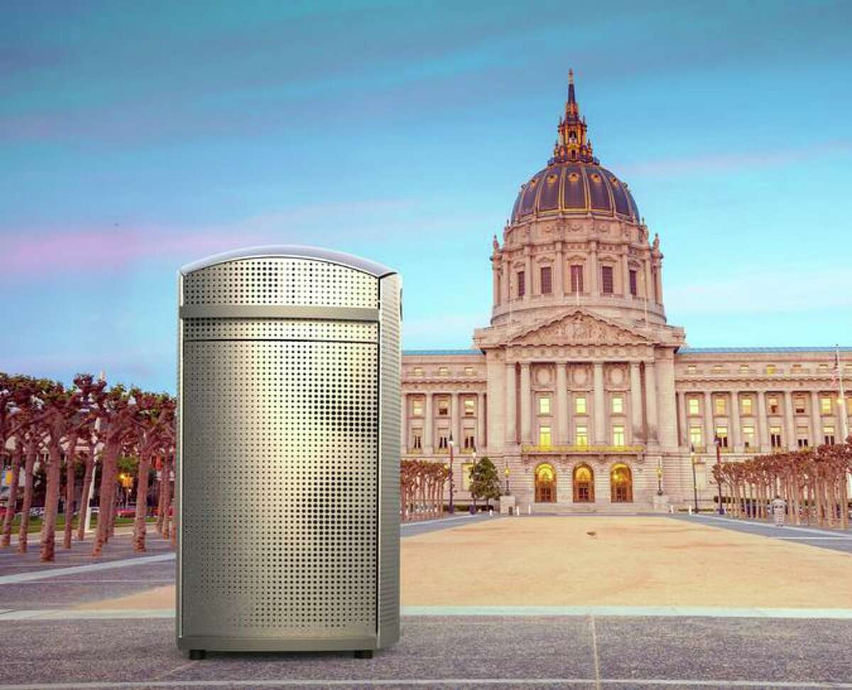 A rendering of Soft Square, one of the three contenders for San Francisco's new trash can, in Civic Center. San Francisco Public Works will select a replacement for the current green receptacles after prototypes are put on display for public review.