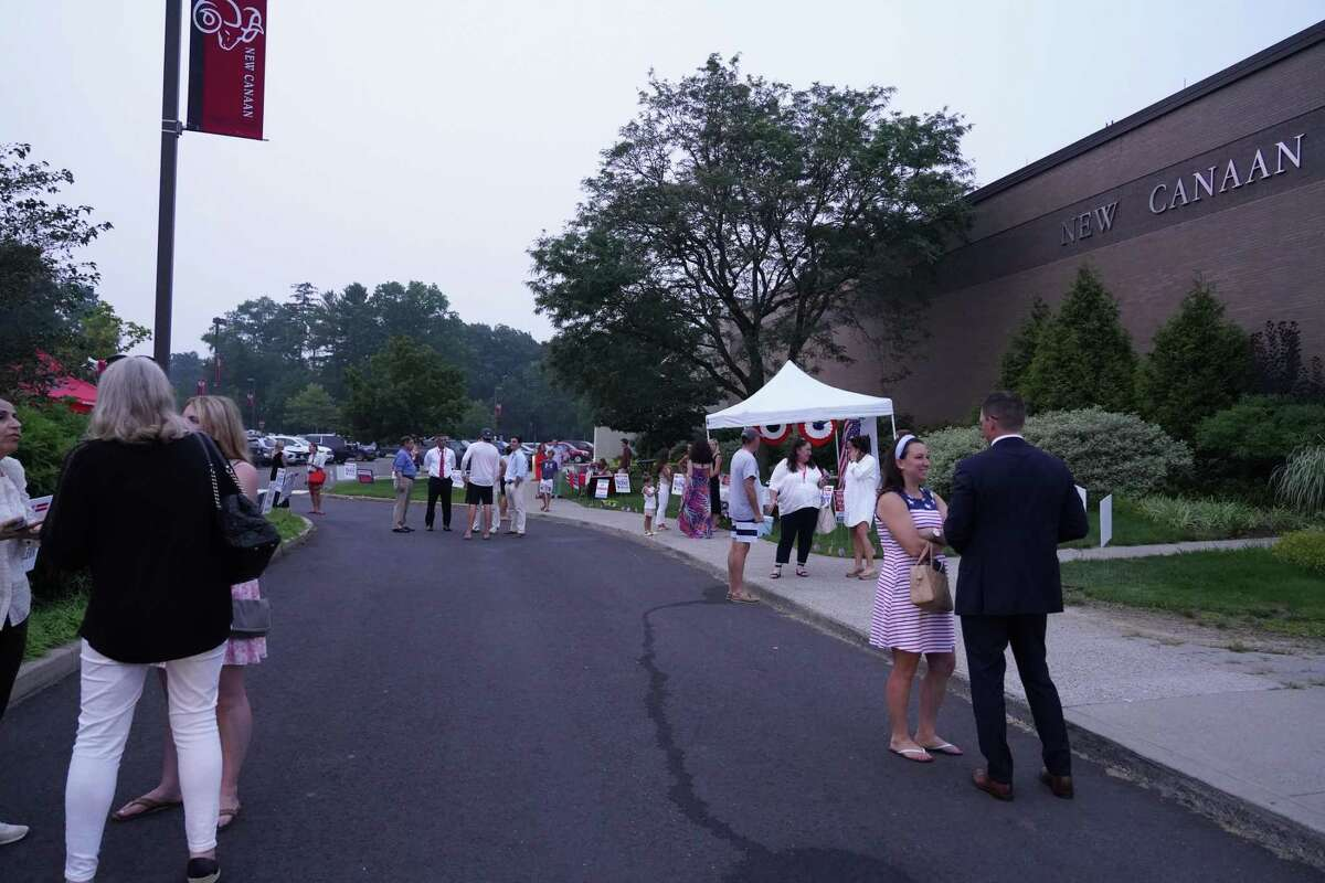 The Republican caucus at the New Canaan High School on July 21 had a turnout of nearly 1,000 people. Candidate tents were erected, which is more commonly seen during general elections.