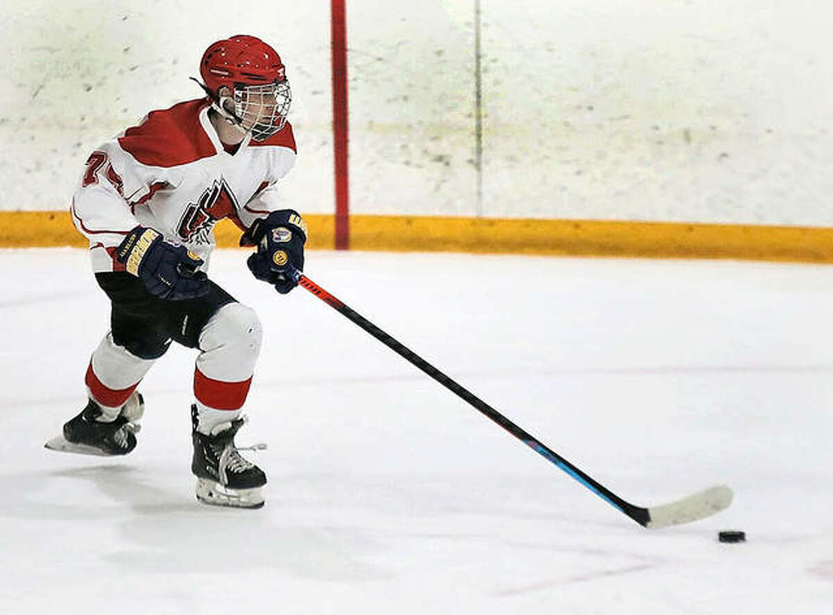 Aiden Elliott of Alton High is the 2021 Telegraph Hockey Players of the Year. Elliott,a defenseman who also plays AA hockey, led the Redbirds in their COVID-shortened season with eight goals and eight assists.