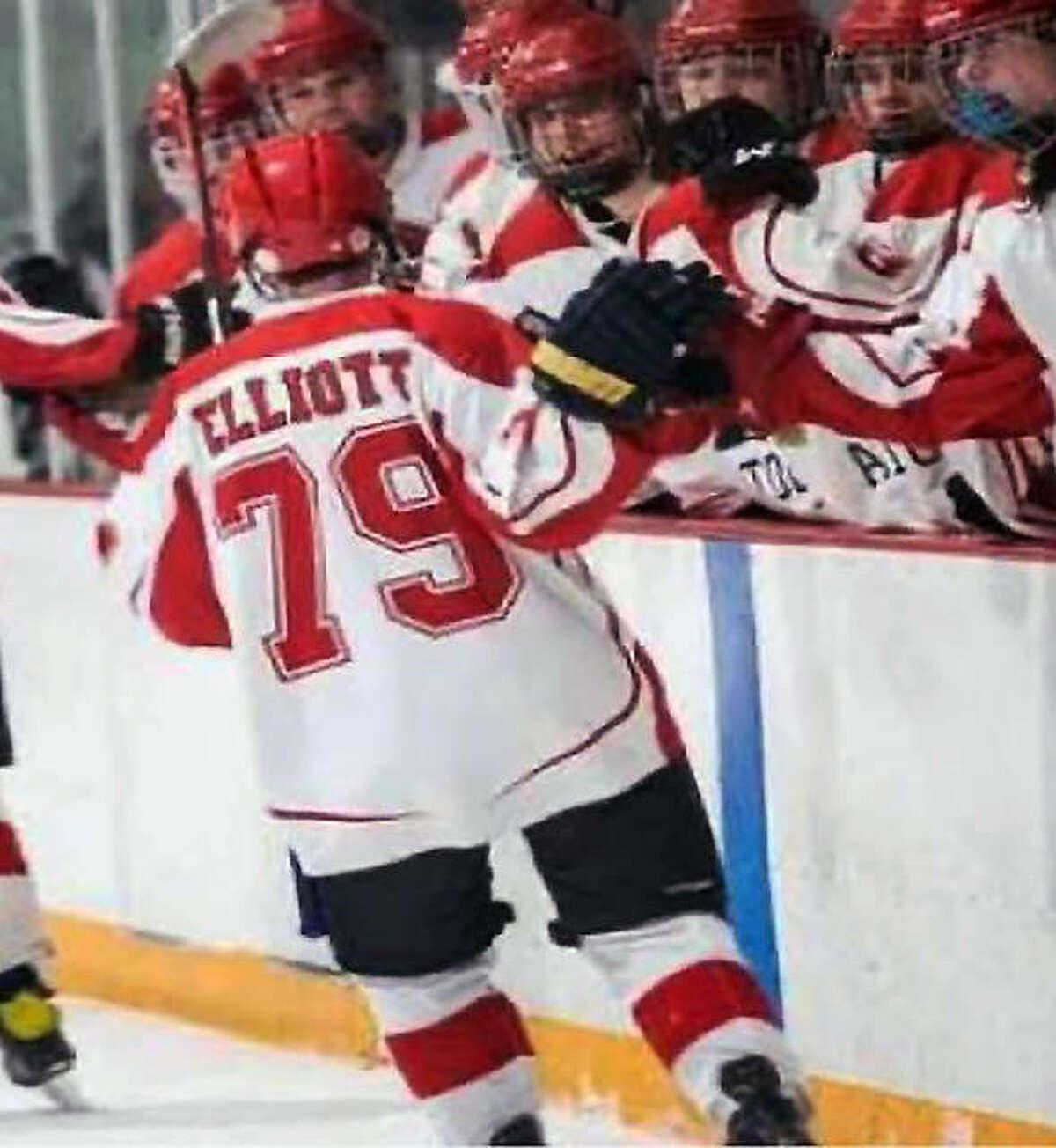 Alton's Aiden Elliott skates past the Redbirds bench after scoring goal as his teammates celebrate.