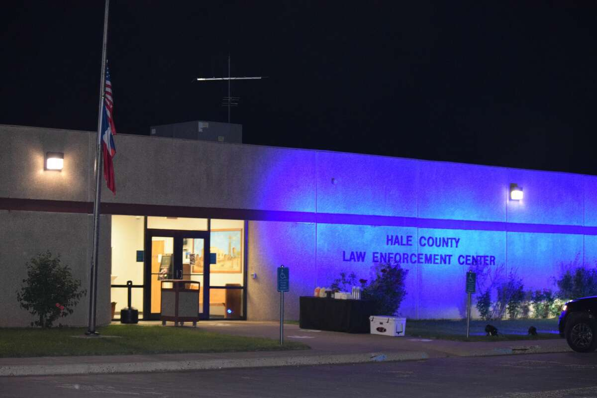 The Hale County Sheriff's Office was illuminated in blue Wednesday night to pay tribute to fallen Lubbock County Sheriff Deputy Joshua Bartlett and to show support for law enforcement.