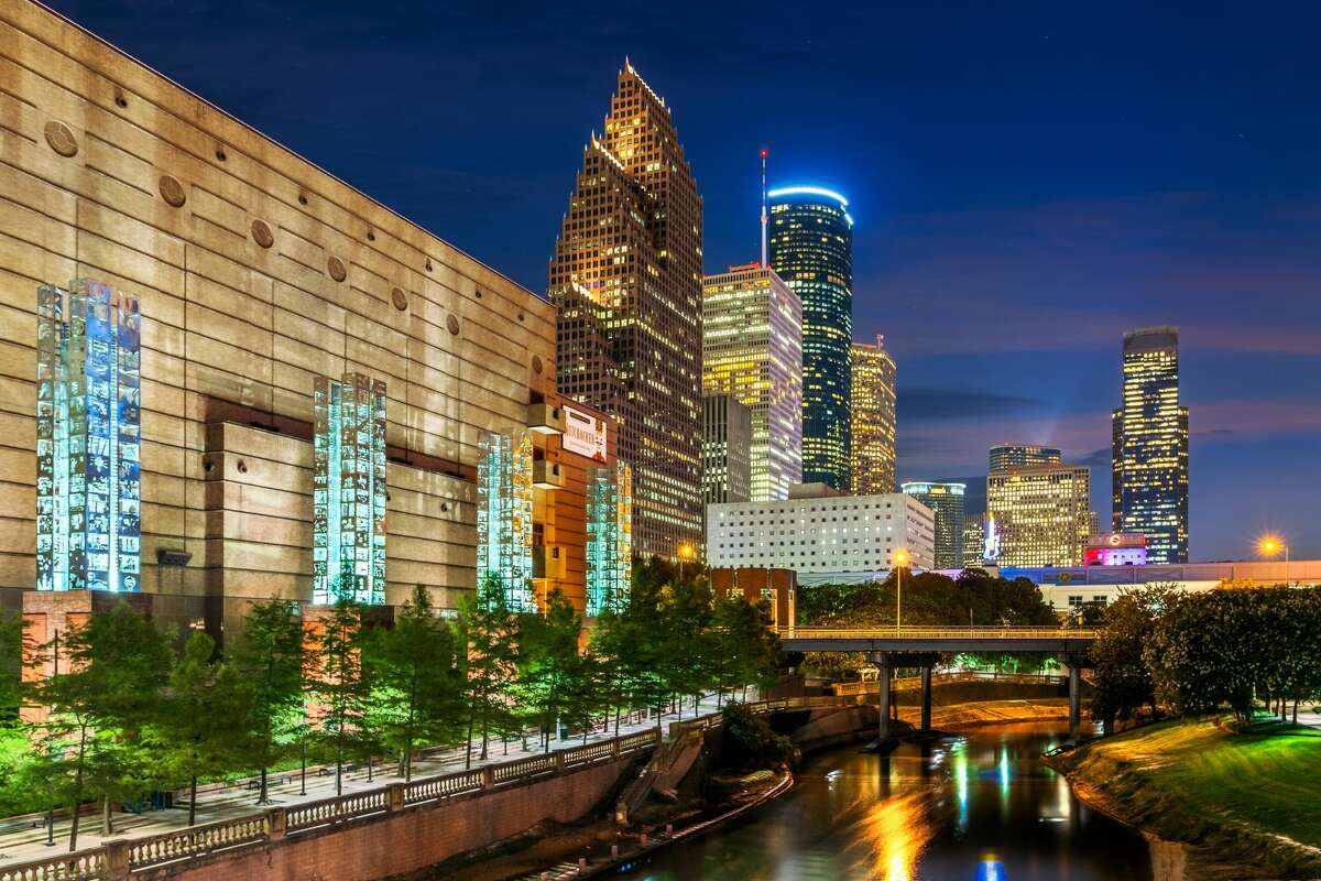 This photo shows the beautiful Buffalo Bayou and Houston's skyline.