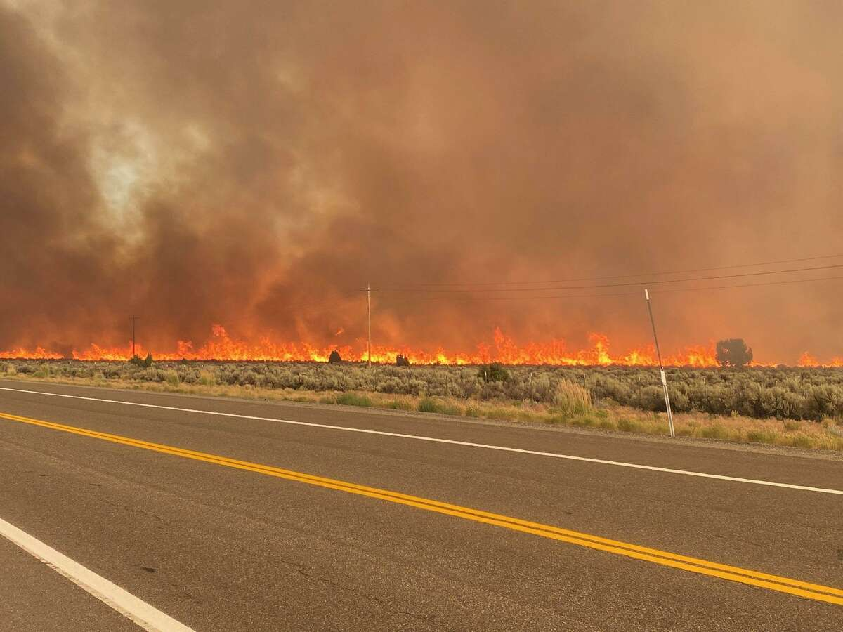 Part of the Tamarack Fire that crossed into Nevada near Highway 395.