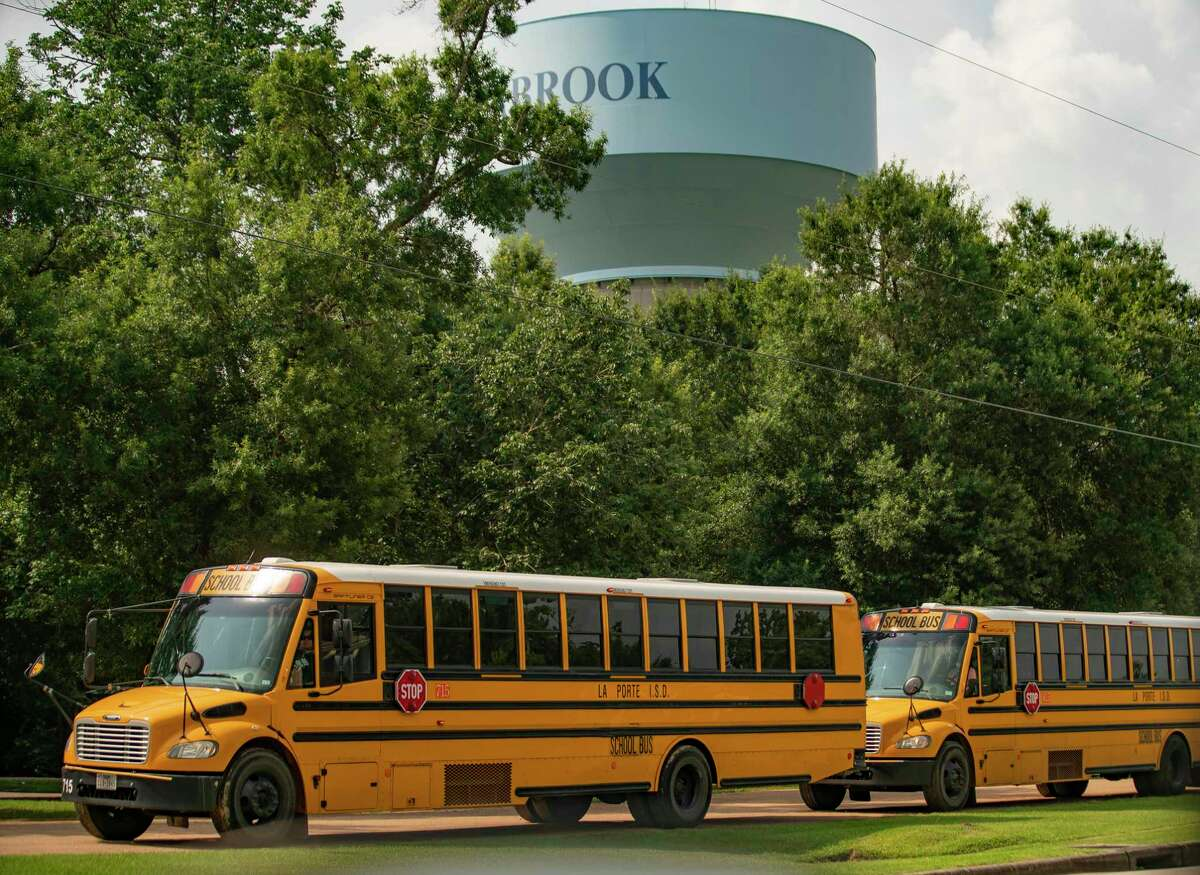 """La Porte ISD busses are lined up at Brummerhop Park in Seabrook after Bayshore Elementary School in La Porte was evacuated related to a chemical leak at a Dow Chemical plant at 13300 Bay Area Boulevard, Wednesday, July 21, 2021, in La Porte. The Bayshore students were taken to Brummerhop Park on Repsdorph Road in Seabrook after the evacuation order was issued for the area at around 8:50 a.m., said a statement from La Porte ISD. """"For your safety and the safety of the children, we are asking that you leave students in our care for the time being,"""" reads the district's statement. """" We believe the shelter-in-place will be lifted soon, and reunification will occur at Bayshore Elementary School. We will keep you updated as information becomes available."""" A tank wagon over-pressurized, causing a release from the tank's vent, Harris County Pollution Control said in a statement. The incident involved a chemical called Hydroxyethyl Acrylate."""