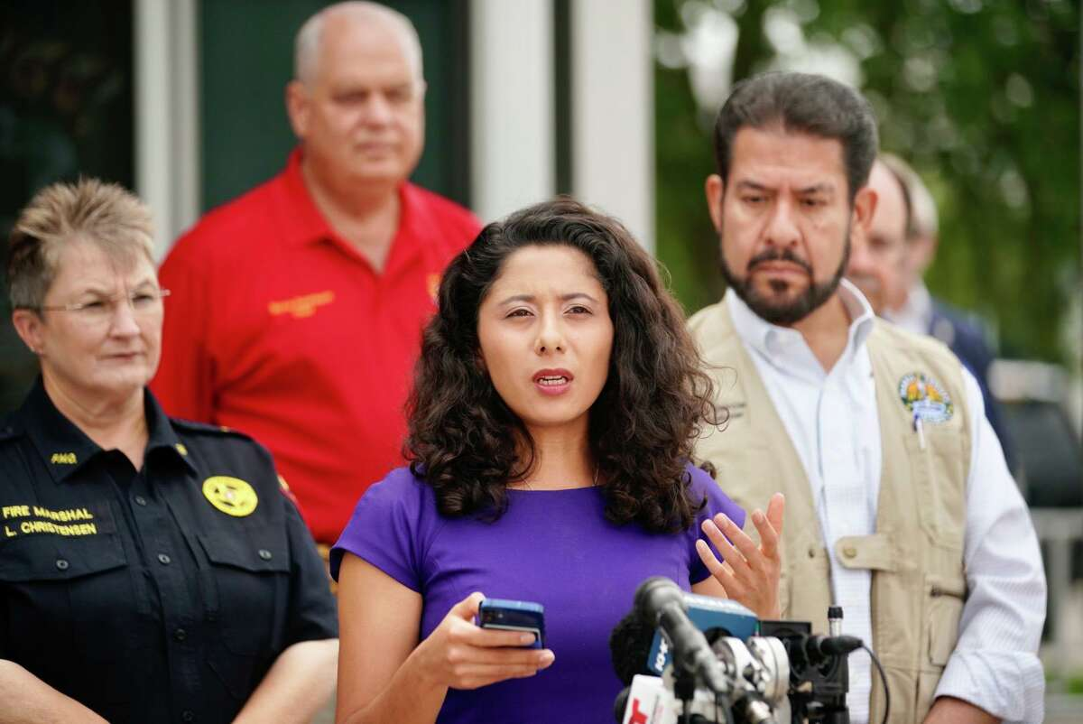 Harris County Judge Lina Hidalgo makes a statement regarding a chemical leak at a Dow Chemical facility Wednesday morning that triggered a shelter-in-place and evacuation order in La Porte, July 21, 2021.