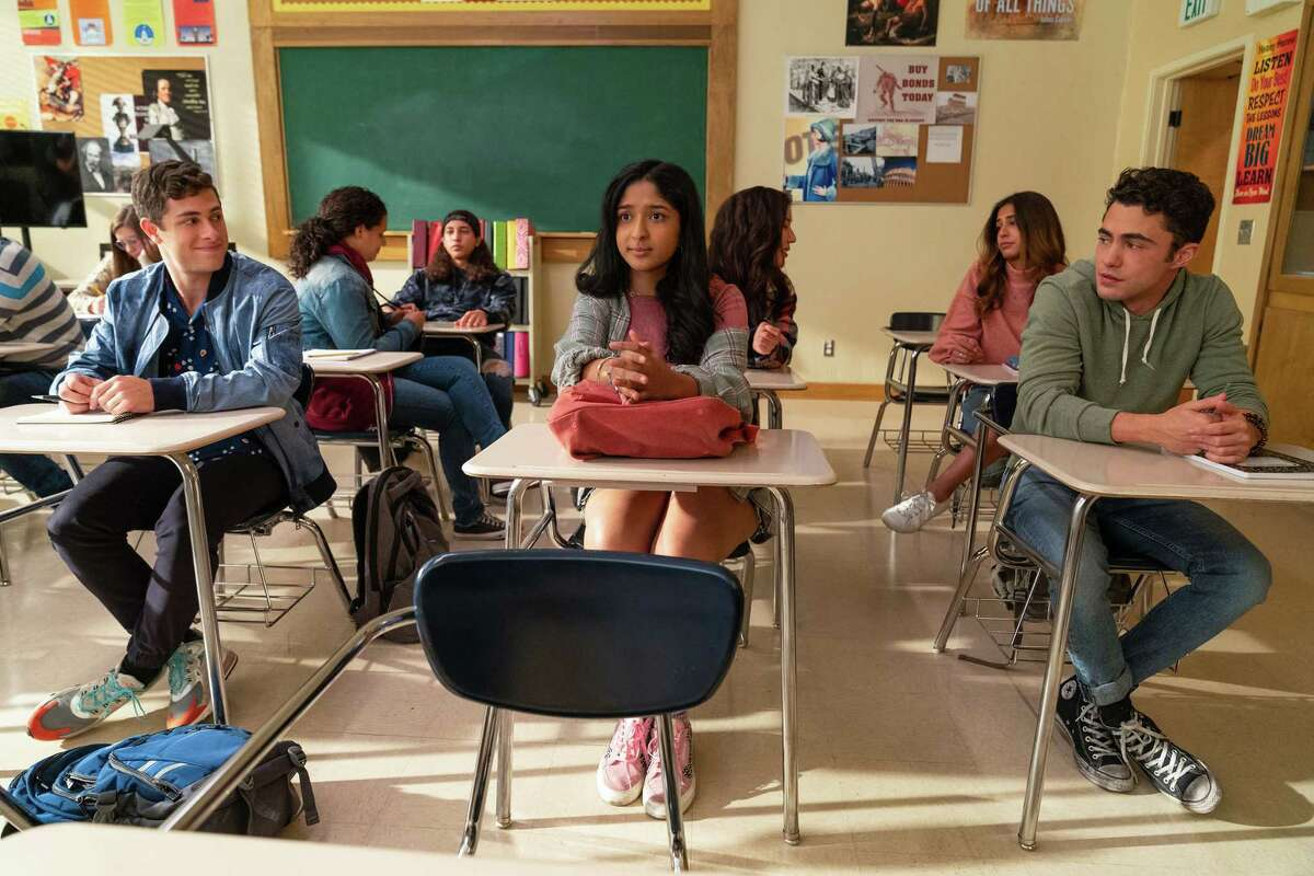 """From left, Jaren Lewison, Maitreyi Ramakrishnan and Darren Barnet appear in the second season of """"Never Have I Ever."""""""