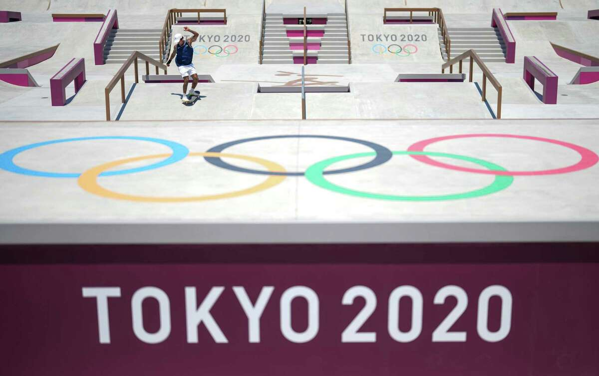 Nyjah Huston of the United States practices skateboarding at Ariake Urban Sports Park in Tokyo on July 22, 2021, ahead of the postponed 2020 Tokyo Olympics. (Chang W. Lee/The New York Times)