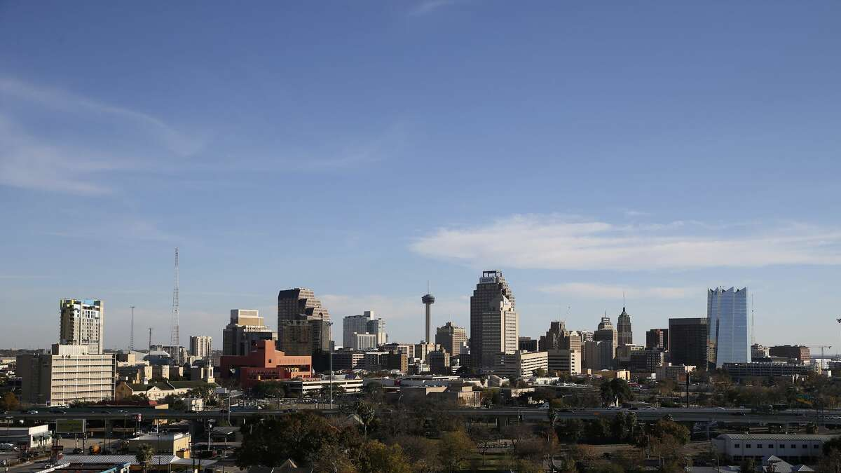 View of the San Antonio skyline from Villa Tranchese in 2019.