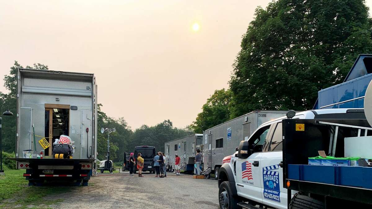 Hair and make up trailer on location.