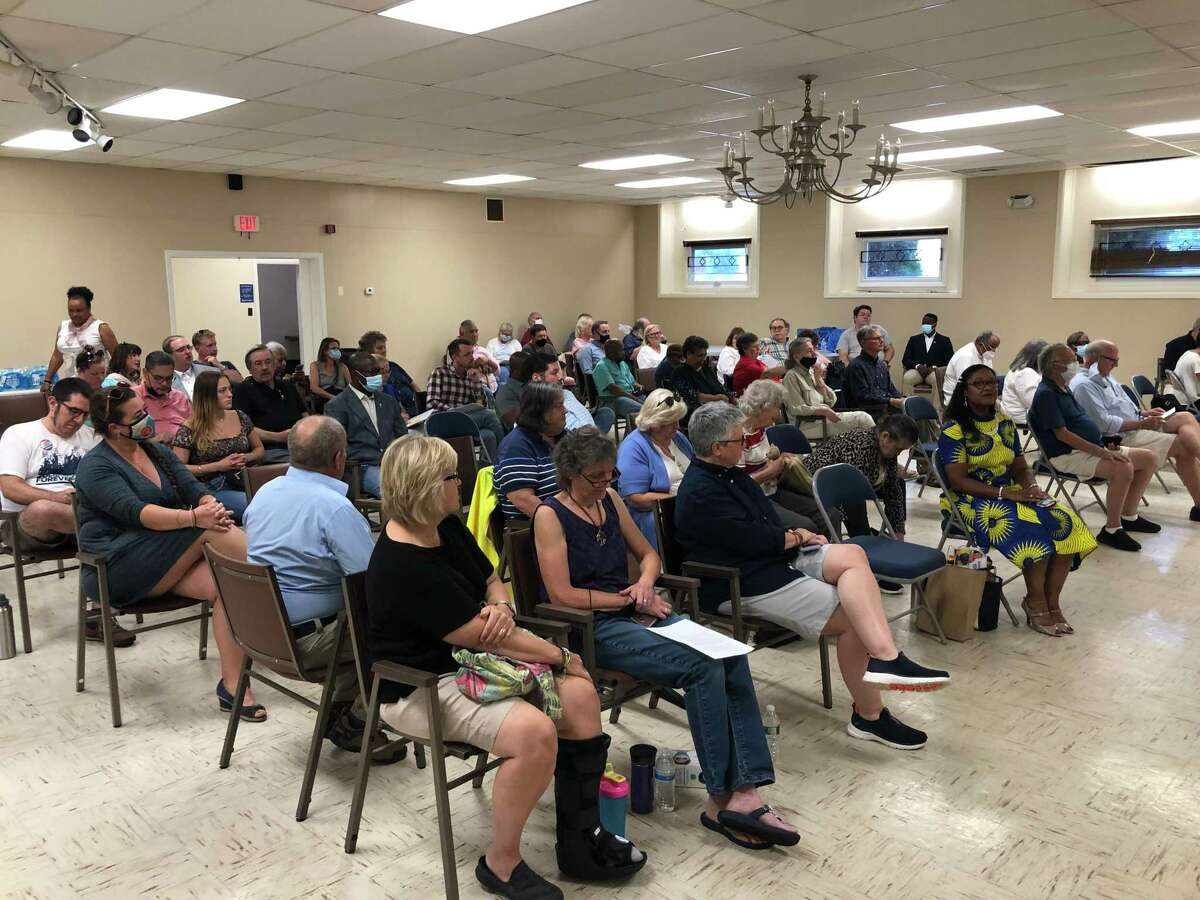 Stratford Democratic Town Committee members gather to endorse candidates at the Universalist Unitarian Church July 21, 2021.